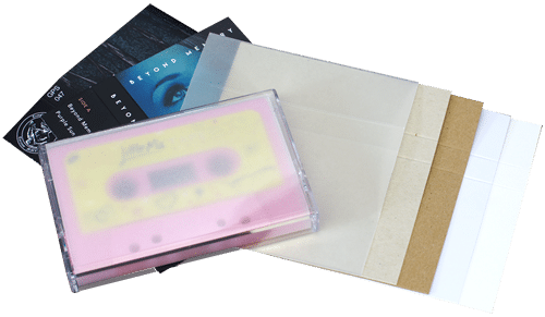 Audio cassette case J-card material options