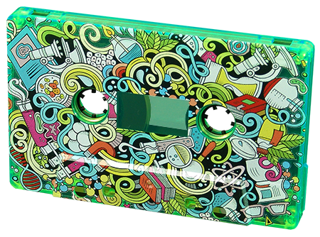 Green transparent cassette tape with full coverage colour printing