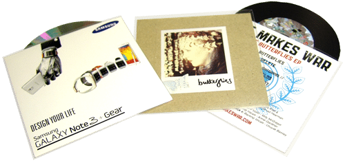 CDs in printed card wallets