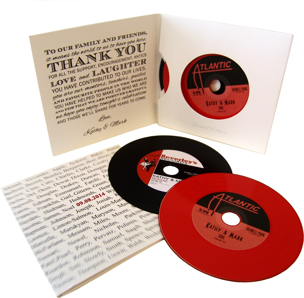 Two vinyl CDs in double record-style four page card sleeves