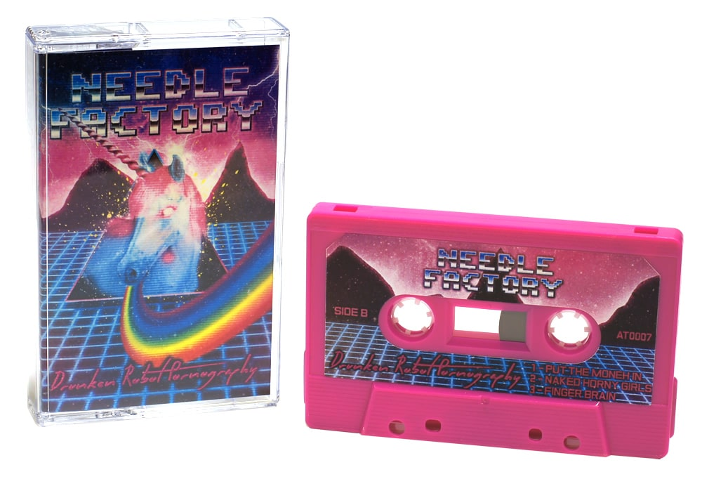 Hot pink cassettes with full colour sticker printing and full colour cassette case J-cards