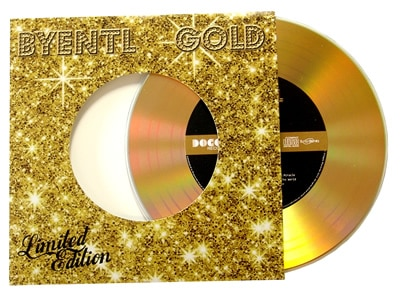 Gold vinyl CD in gloss record-style wallet