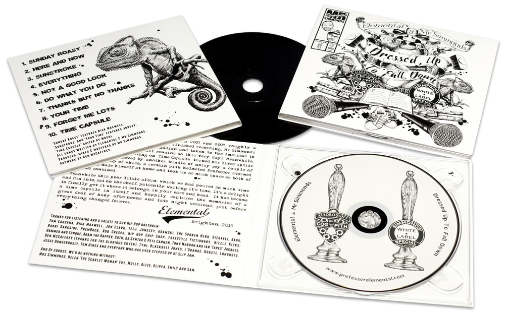 4 page digipaks with a clear disc tray and unusual black-base CDs with direct to disc printing, all in black and white