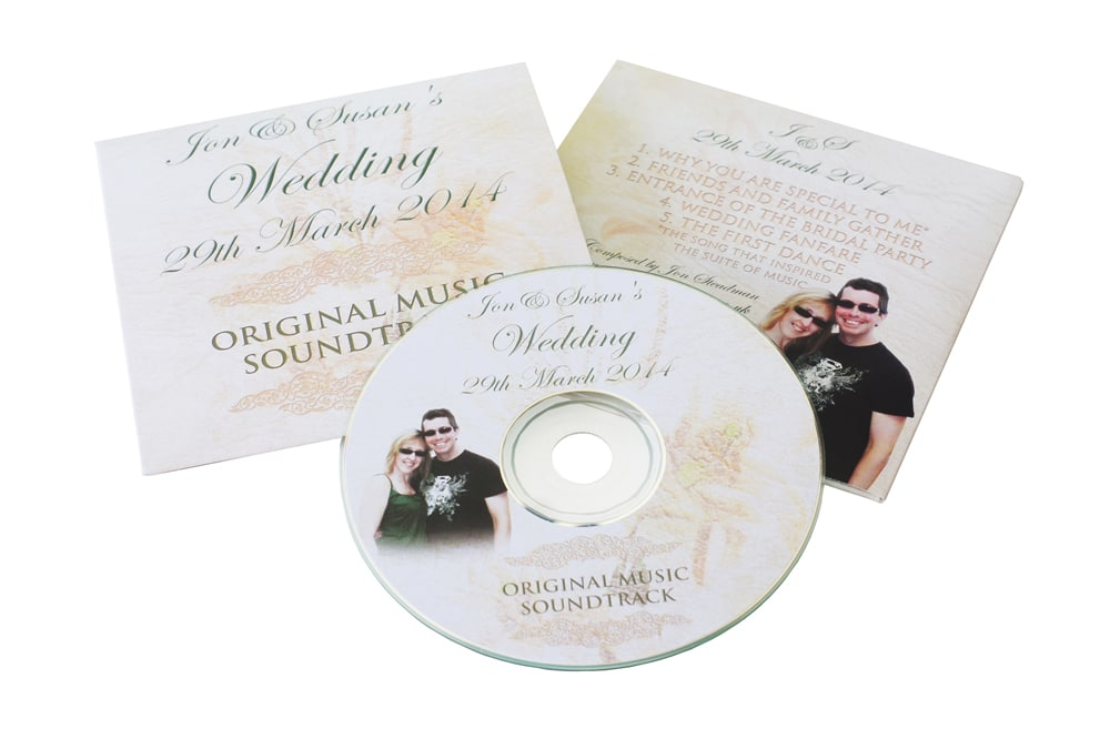 Wedding CDs in printed card wallets