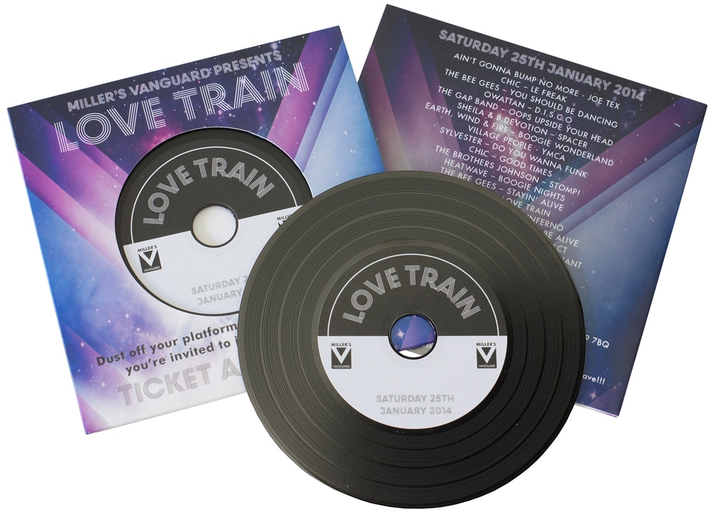 Invitation vinyl CDs in record-style printed wallets