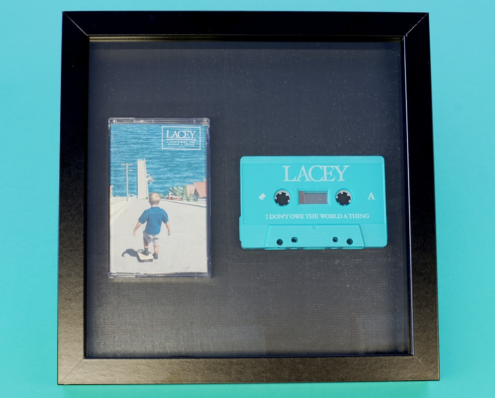 Turquoise on-body printed cassettes in presentation frame