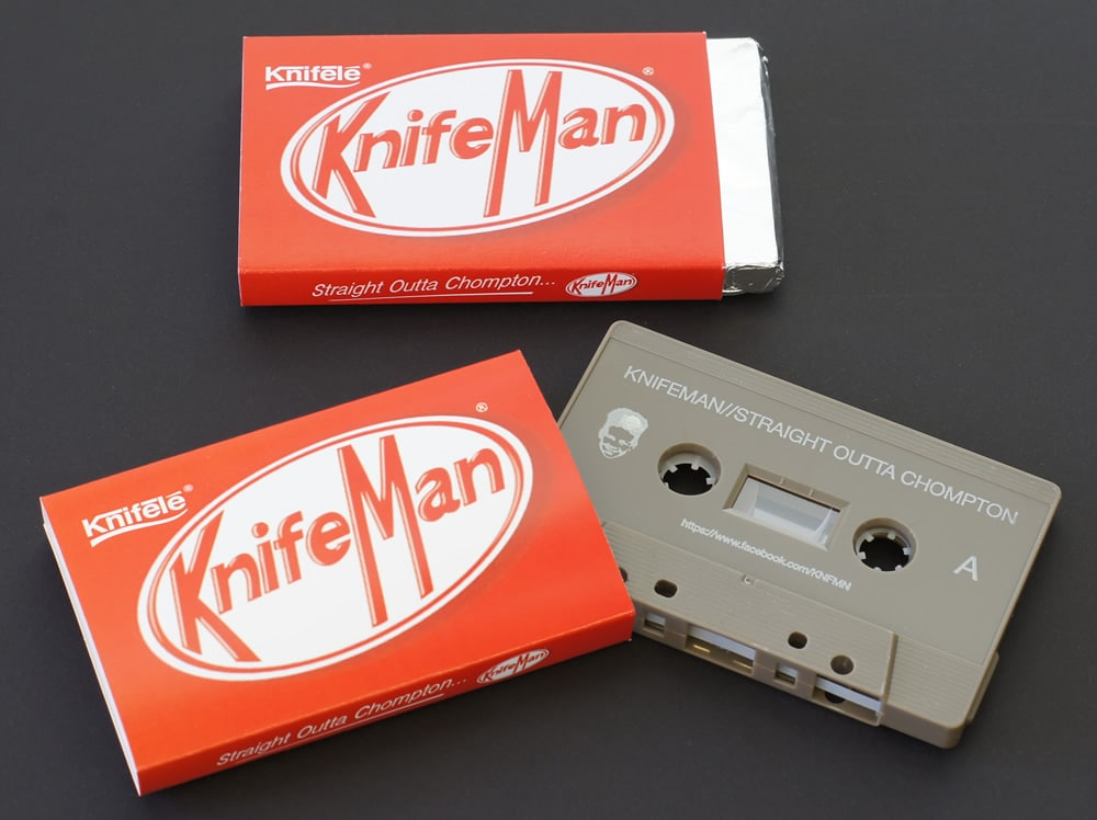 Cocoa brown cassette tapes in printed O-cards that the customer then wrapped in foil to look just like a KitKat!