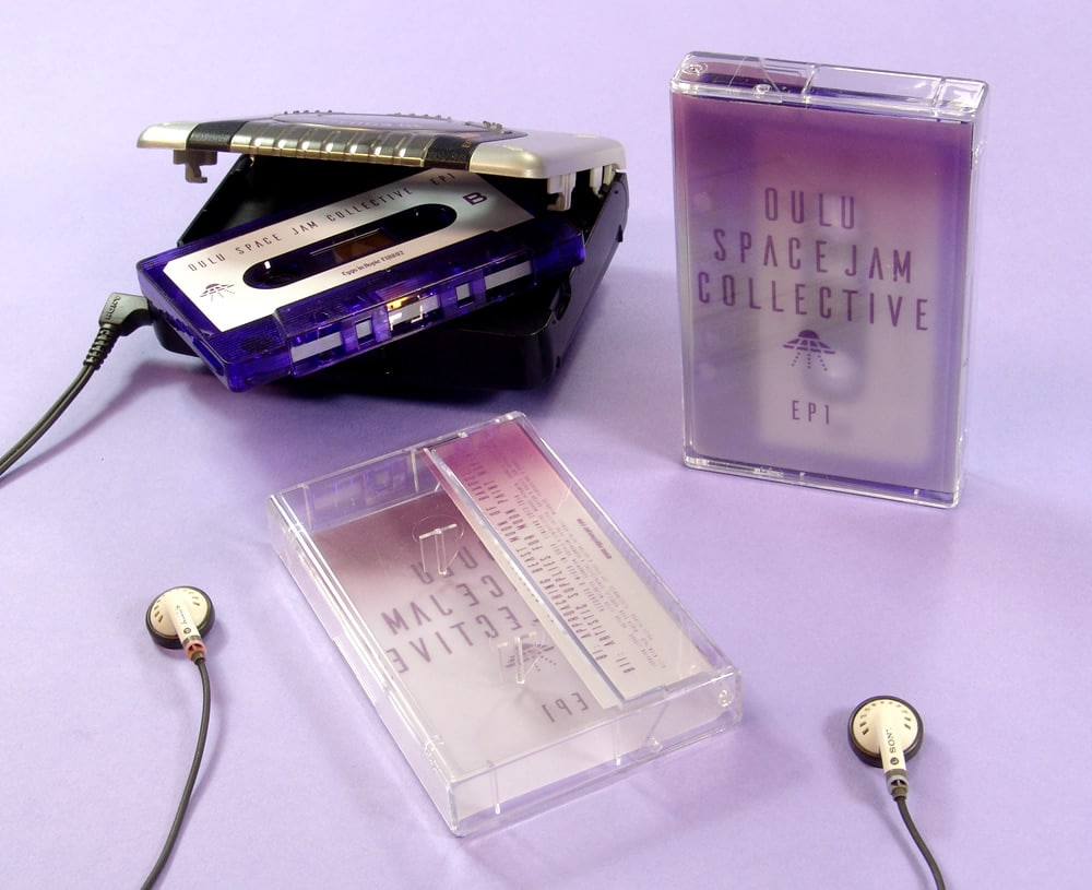 Purple transparent cassettes with clear tracing paper or vellum J-cards