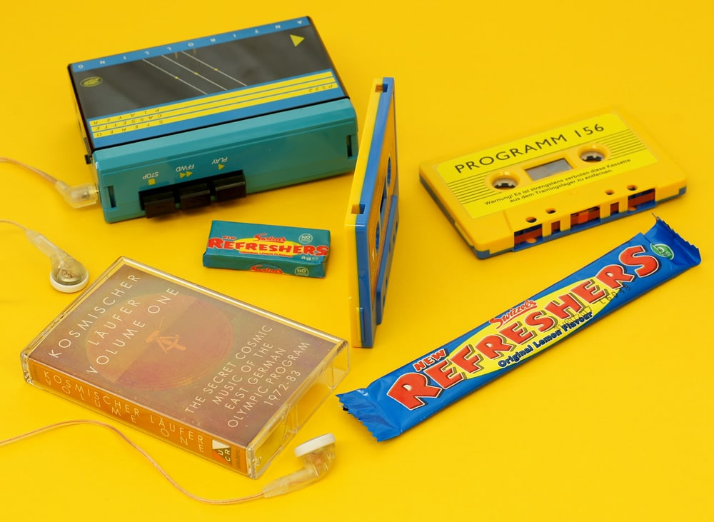 Yellow and blue sandwich cassettes that are available by special request and remind us of the colouring of the classic 80's 'Refreshers' sweets...