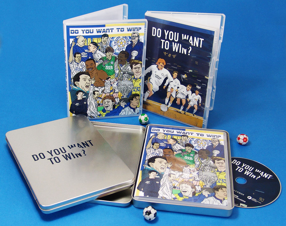 Standard and special edition DVDs for Leeds United with printed DVD steelbook-style tins