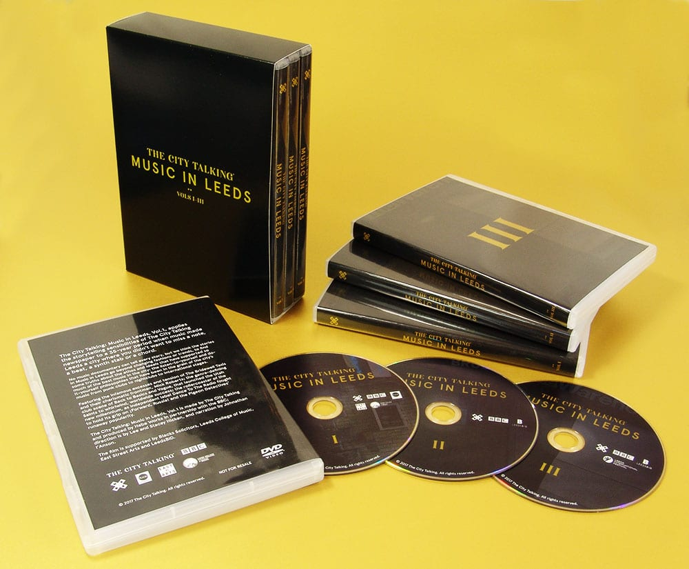 Triple DVD boxset with on-body printed DVDs and packed in slipcases