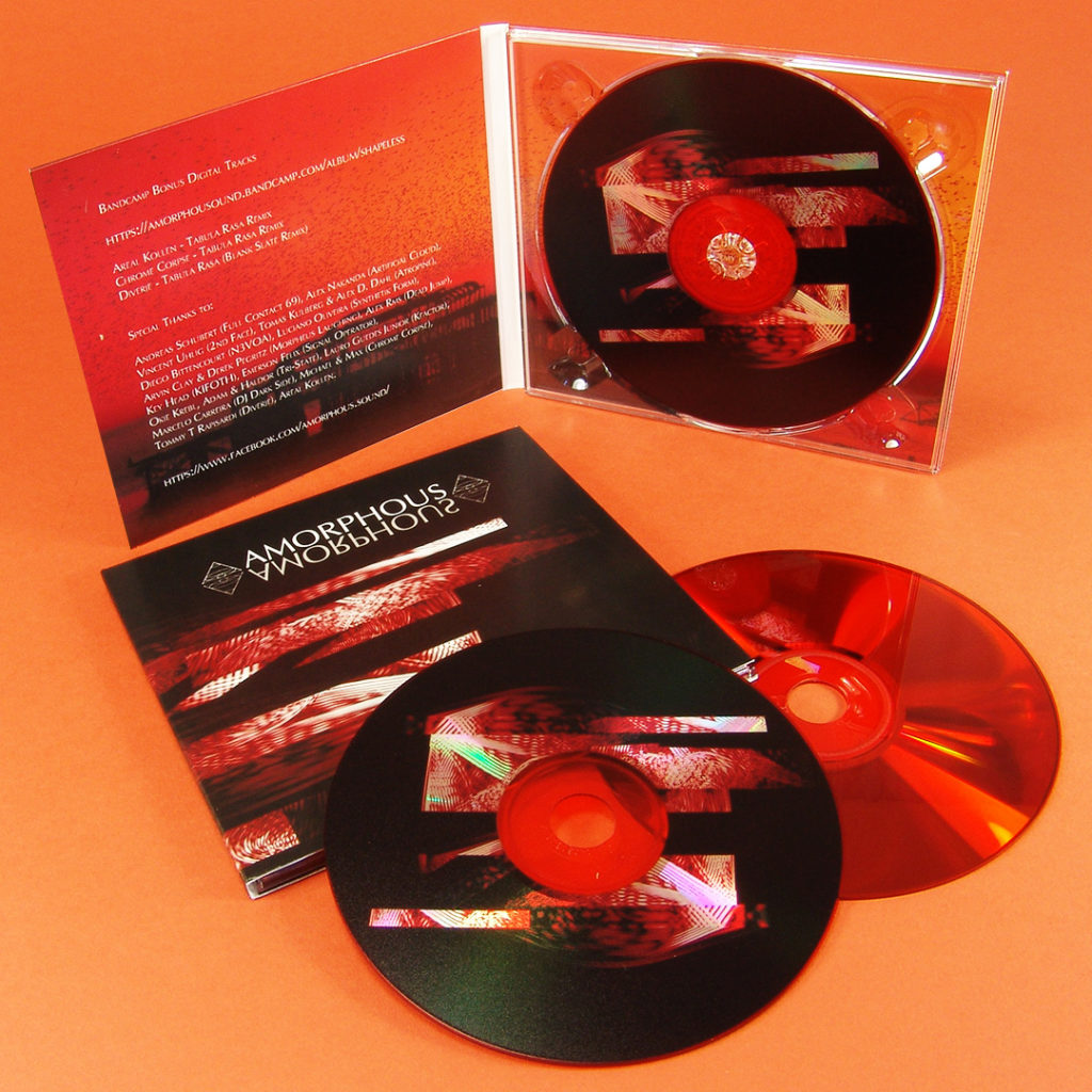 Red base CDs with a UV LED print directly onto the silver disc surface for a metallic effect in 4 page digipaks