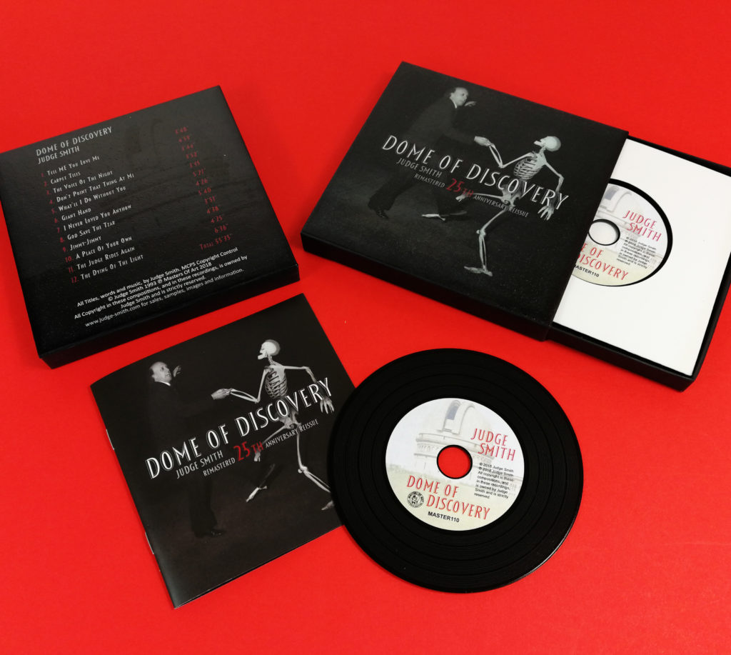 Black vinyl CDs in presentation matchbox cases with 12 page booklets